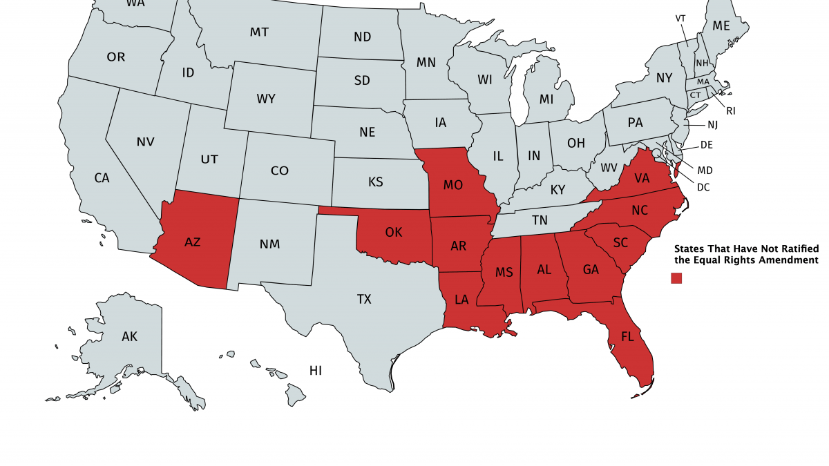If you live in one of the red states, your state is holding up the Equal Rights Amendment